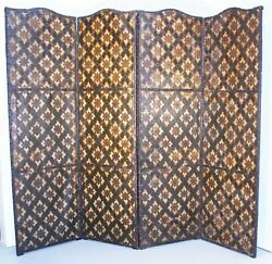 19th C. Large Antique Italian 4 Panel Leather Hand Painted Oil Paintingandnbsp Screen