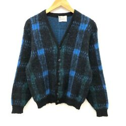 1960and039s Vintage Campus Mohair Cardigan Size L Black Andtimes Blue Andtimes Green Plaid Rare