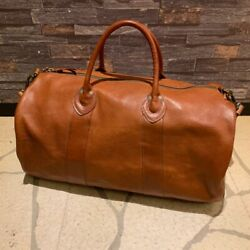 Rrl Leather Boston Bag 14.1in. Andtimes 20.4in. Brown Rare