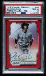 2019 Bowman Sterling Prospect Red Refractor /5 Nick Madrigal Psa 10 Auto