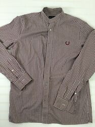 """Fred Perry Shirt band collar Button Up Burgandy Check long sleeve Mens 40"""" $40.00"""