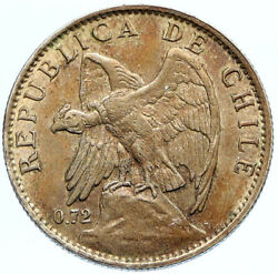1917 Chile Condor Bird Antique Old Large Silver South American Peso Coin I96834