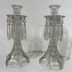 Vintage Eapg Glass Taper Candlestick Holder Pair With Bobeches And Prisms