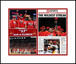 St. Louis Cardinal Win 17th In A Row @ Clinch Wild Card Matted Pic Of Paper 2