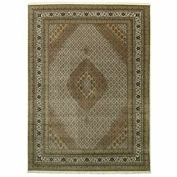 10and0391x14and0392 Wool And Silk Ivory Hand Knotted Fish Design Tebraz Mahi Rug R58811