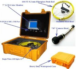 """Sewer Drain System 7"""" Lcd Color Dvr Mic Usb Sd 1"""" Color Camera Pipe 100ft Cable"""