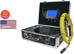 """Sewer Drain Pipe Cleaning System 130ft Cable Inspection Video Snake Camera 7""""lcd"""