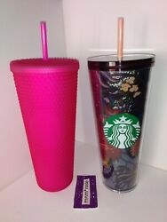 2 Starbucks Tumblers Fall / Halloween 2021 Neon Pink Jelly Studded And Foil Floral