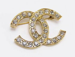 Vintage Coco Mark Rhinestone Brooch Gold Metal Previously Owned No.4282