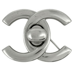 Coco Mark Brooch Cc Turn Lock Silver Plated Women And039s Previously No.4234