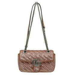 Try-on Video Mini Spangle Shoulder Bag Pastel Pink Leather No.5417