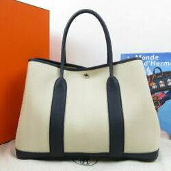 Hermes The Real Thing Garden Party Pm Tote Bag Leather Canvas Navy No.6188