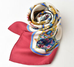 Hermes Scarf Carre 90 Silk Twill Perfume Motifs Wine White Previously No.4486