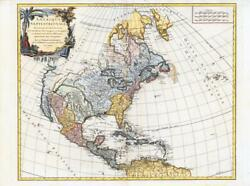 1750 Large Map North America Usa Amerique Septentrionale By Vaugondy Lm13