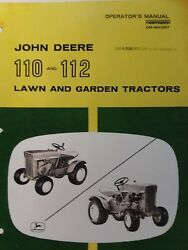 John Deere 110 112 Round Fender Lawn Garden Tractor And Mower Owners 2 Manual S