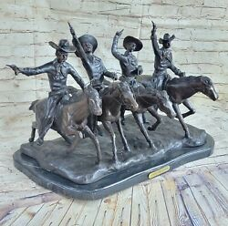 Frederic Remington Reproduction Bronze 80 Lbs Cowboys Coming Thru The Rye Deal