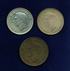 Australia 1942-1951 Group Lot Of 3 Coins 1942 And 1951 Silver Florins, 1943 Penny