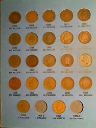 U.s. Indian Cent / Penny Collection In Whitman Album, Lot Of 36 Circulated Coins