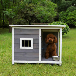 Senior Wooden Dog House Outdoor Indoor Durable Stable Pet Pens Pets Hutches Us