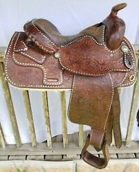 Collectible Vintage Circle Y Western Saddle Beautifully Tooled White Buck Stitch