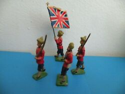 Arab British Soldiers With Britians Flag Flagman Lot Of 4 Lead Toy A27