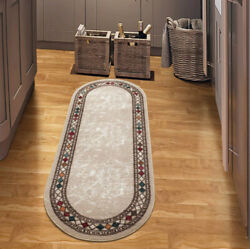 Modern Bordered Non-slip Low Profile Pile Rubber Backing Indoor Rug 2`x5`