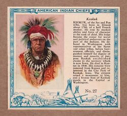 1954 Keokuk, Sac And Fox, 27 Red Man Indian Chiefs T129 Excellent Cond.