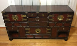 Old Chinese Wood Brass Low Chest Cabinet Table 6drawers And 3doors W/ Locks And Key