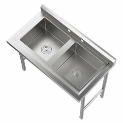 2 Compartment Sinks 304 Stainless Steel Commercial Utility Heavy Duty Sink