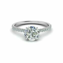 0.85 Carat Real Diamond Engagement Ring 14k Solid White Gold Rings Size 5 6 7 8