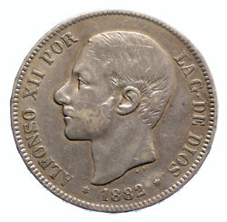 1882 Spain W King Alfonso Xii Antique Old Silver 5 Pesetas Spanish Coin I96263