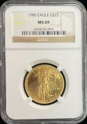 1986 American Eagle 25 1/2 Oz Gold Coin Ngc Ms 69
