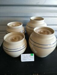 Marshall Texas Pottery Collectible Bowls. Blue And White. Set Of 4