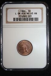 1864-l Ngc Indian Head Penny Ngc Ms 63 Rb Lots Of Red L On Ribbon, Tough Date