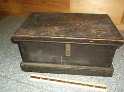 1800and039s U.s.std Drill Lists Wooden Box Large Tool Chest Brass Hardware