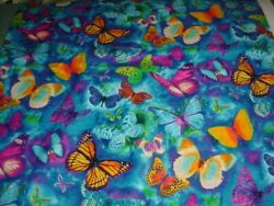 TIMELESS TREASURES COTTON FABRICS COLORFUL BUTTERFLIES GAIL C 7803 OOP BTY NEW