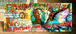 Spiderman Homecoming Amazing Fantasy Genuine 2 Bill Signed Rency Art Spider-man