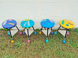 4 Postmodern Memphis Milano Style Stools Signed M. Levin