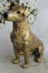Vintage Cold Painted Vienna Bronze Jack Russell Terrier Dogs Life Size Sculpture