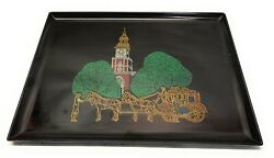 Vintage Couroc Of Monterey Carriage Brass Inlaid Lacquer Serving Tray 18andrdquo 12.5andrdquo