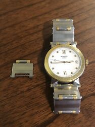 Movado Mens Vizio Two-tone Stainless Steel Watch 85 C2 878 W/ Extra Link 7 3/8andrdquo