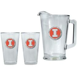 University Of Illinois Pitcher And 2 Pint Glass Set Beer Set