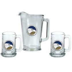 Georgia Southern University Pitcher And 2 Stein Glass Set Beer Set