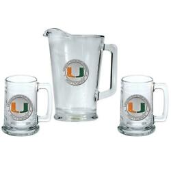 University Of Miami Hurricanes Pitcher And 2 Stein Glass Set Beer Set