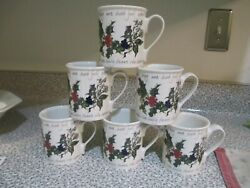 Portmeirion Holly And Ivy Breakfast Mugs Set Of 6 Nwt