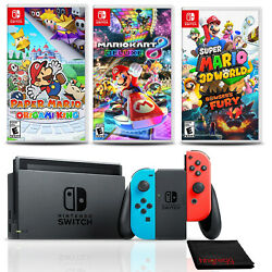 Nintendo Switch Console Neon Blue/red With 3 Games Super Mario 3d World +