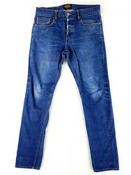 Brave Star 34 Selvedge Button Fly Blue Jeans Classic Heavy Denim Faded