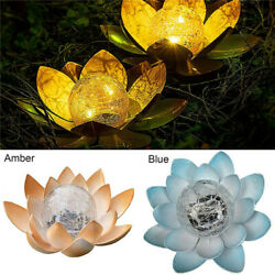 New Solar Power Crackle Glass Ball Amber Crackle Globe Glass Lotus Decoration