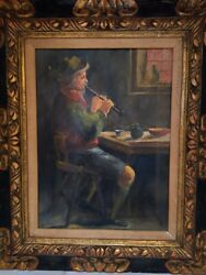 Rare Antique Oil Painting On Canvas-signed W.v.d. Vlies And Numbered.playing Flute
