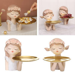 Girl Figurine Lovely Collectible Statue Storage Tray Decor Birthday Gift